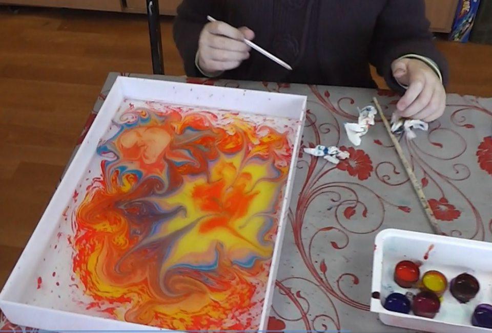 Эбру рисование на воде своими руками 15